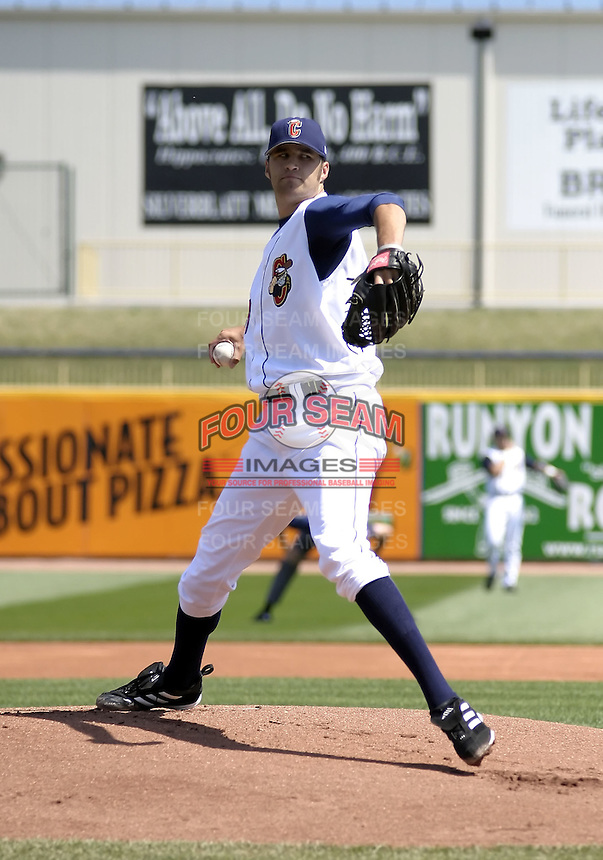 April 18, 2004:  Jim Ed Warden of the Lake County Captains, Low-A South Atlantic League affiliate of the Cleveland Indians, during a game at Classic Park in Eastlake, OH.  Photo by:  Mike Janes/Four Seam Images