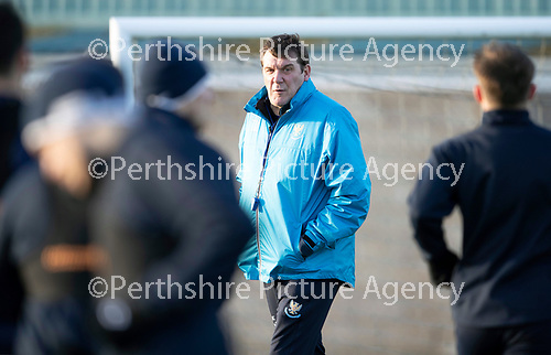 St Johnstone Training…07.12.18…   McDiarmid Park    <br />Manager Tommy Wright watches training ahead of tomorrows game against Aberdeen<br />Picture by Graeme Hart. <br />Copyright Perthshire Picture Agency<br />Tel: 01738 623350  Mobile: 07990 594431
