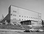 Pittsburgh PA:  View of the University of Pittsburgh Memorial Field House.  Completed in 1951, the field house was home for the Pitt Panthers basketball team, other Pitt athletic teams, and the Duquesne Dukes from 1956-1964.   The name was changed to the Fitzgerald Field House in the late 1950s.  The building was designed by Ingham, Boyd, and Pratt. They were one of the premier architects in Pittsburgh and did a lot of work for universities, hospitals, and local school districts in the Pittsburgh area. The successor firm is IKM, Inc.