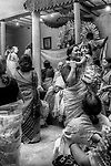A family gathering during the annual Durga Puja festival in Kolkata. Durga Puja is the biggest festival of the Bengalis and Kolkata.