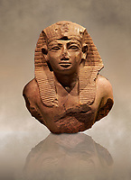 Quartz Ancient Egyptian Statue head of King Amenhotep II from Wad Ban Naga, Sudan . 18 th Dynasty 1425 BC . Neues Reich Museum Berlin Cat No: AM 2057.