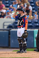 Las Calaveras de West Michigan catcher Cooper Johnson (10) during a game against the Fort Wayne TinCaps on August 22, 2021 at LMCU Ballpark in Comstock Park, Michigan.  (Mike Janes/Four Seam Images)