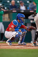 Buffalo Bisons catcher Michael De La Cruz (55) during an International League game against the Norfolk Tides on June 21, 2019 at Sahlen Field in Buffalo, New York.  Buffalo defeated Norfolk 1-0, the second game of a doubleheader.  (Mike Janes/Four Seam Images)