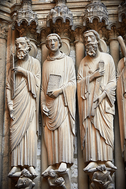 South Porch, central Portal c. 1194-1230,  Cathedral of Notre Dame, Chartres, France. Gothic statues of from left to right they are .Paul, John and James Major A UNESCO World Heritage Site.
