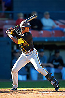 Bethune-Cookman Wildcats center fielder Josten Heron (44) at bat during a game against the Wisconsin-Milwaukee Panthers on February 26, 2016 at Chain of Lakes Stadium in Winter Haven, Florida.  Wisconsin-Milwaukee defeated Bethune-Cookman 11-0.  (Mike Janes/Four Seam Images)