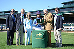 Something Extra and jockey Shaun Bridgmohan win the Shakertown at Keeneland for trainer Gail Cox and owner Jim and Susan Hiill.