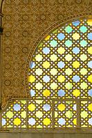 Senegal, Touba.  Eight-pointed Stars in Geometric Window Design, Grand Mosque of Touba.