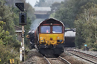 Pictured: Part of the train that caught fire in Llangennech, Wales, UK. Thursday 27 August 2020<br /> Re: A freight train carrying diesel has derailed and burst into flames in Llangennech, near Llanelli, Wales, UK.<br /> People living nearby in Carmarthenshire, were evacuated but have since returned to their homes.<br /> Police declared a major incident, put a cordon in place and closed roads.<br /> The two workers who were on board the train have been accounted for and no injuries have been reported according  to the British Transport Police.