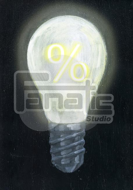 Illustrative image of light bulb with percentage sign representing profitability