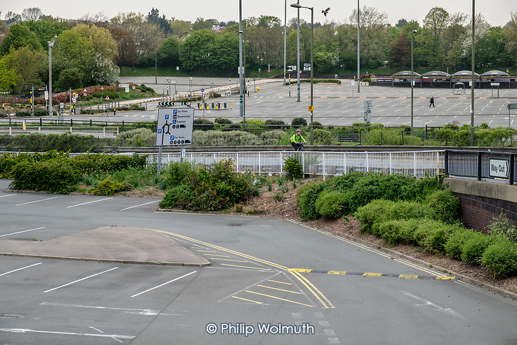 Coronavirus pandemic.  Empty car parks at Brent Cross Shopping Centre, London.  All shops except food stores and a pharmacy in the retail park are closed during the Covid-19 lockdown.