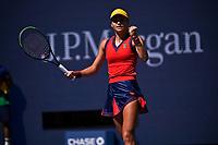 8th September 2021; New York, USA;  2021 US Open Emma Raducanu GBR during her quarter final win against Belinda Bencic, Switzerland