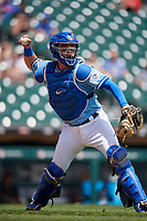 Buffalo Bisons catcher Reese McGuire (7) throws to first base for the out during an International League game against the Lehigh Valley IronPigs on June 9, 2019 at Sahlen Field in Buffalo, New York.  Lehigh Valley defeated Buffalo 7-6 in 11 innings.  (Mike Janes/Four Seam Images)