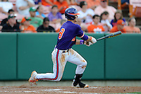 Third Baseman Richie Shaffer #8 hits double down the left field line to break open a 1-1 tie during a  game against the Miami Hurricanes at Doug Kingsmore Stadium on March 31, 2012 in Clemson, South Carolina. The Tigers won the game 3-1. (Tony Farlow/Four Seam Images)..