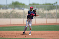 Cleveland Indians third baseman Jonathan Lopez (16) makes a throw to first base during an Extended Spring Training game against the Arizona Diamondbacks at the Cleveland Indians Training Complex on May 27, 2018 in Goodyear, Arizona. (Zachary Lucy/Four Seam Images)