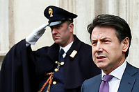 Giuseppe Conte<br /> Rome March 5th 2019. Palazzo Chigi. The Italian Prime Minister surrounded by journalists, cameraman and photographers, while speaks to press after the meeting with the minister of internal affairs and the minister of economic development about TAV (Turin–Lyon high-speed railway).<br /> Foto Samantha Zucchi Insidefoto