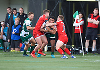 Reon Joseph of Ealing Trailfinders is tackled by George Spencer of Jersey Reds (left) and Jack Stapley of Jersey Reds during the Greene King IPA Championship match between Ealing Trailfinders and Jersey at Castle Bar, West Ealing, England  on 19 October 2019. Photo by Alan Stanford / PRiME Media Images
