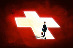Illustrative image of businessman walking on first aid sign