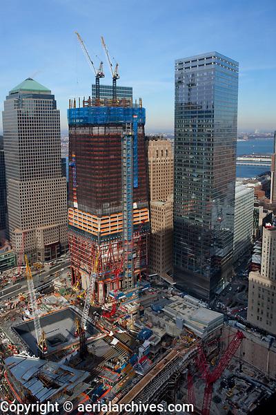 aerial photograph World Trade Center construction site, Manhattan, New York City