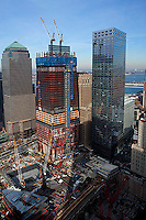 aerial photograph World Trade Center construction site, Manhattan, New York City