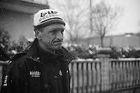 Milan - San Remo 2013.<br /> <br /> Soigneur Marc Van Gyseghem is godsmacked by what he saw in the teambus were 8 undercooled riders try to regain their strength after the race was paused/stopped up the Turcino Pass because of snowfall.<br /> <br /> ©kramon