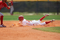 Canada Junior National Team David Calabrese (7) steals second base during an exhibition game against the Philadelphia Phillies on March 11, 2020 at Baseball City in St. Petersburg, Florida.  (Mike Janes/Four Seam Images)