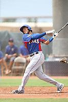 Crisford Adames (5) of the AZL Rangers bats during a game against the AZL Padres at the San Diego Padres Spring Training Complex on July 4, 2015 in Peoria, Arizona. Padres defeated the Rangers, 9-2. (Larry Goren/Four Seam Images)