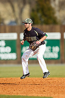 Charlotte 49ers shortstop Derek Gallello (41) on defense against the Canisius Golden Griffins at Hayes Stadium on February 23, 2014 in Charlotte, North Carolina.  The Golden Griffins defeated the 49ers 10-1.  (Brian Westerholt/Four Seam Images)