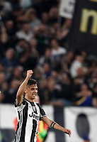Football Soccer: UEFA Champions UEFA Champions League quarter final first leg Juventus-Barcellona, Juventus stadium, Turin, Italy, April 11, 2017. <br /> Juventus Paulo Dybala celebrates after scoring during the Uefa Champions League football match between Juventus and Barcelona at the Juventus stadium, on April 11 ,2017.<br /> UPDATE IMAGES PRESS/Isabella Bonotto