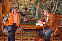 April 17, 2015, Netherlands, Den Bosch, Cityhall, Fedcup Netherlands-Australia,  Dutch president of the KNLTB Rolf Thung is interviewed by Jon Visbeen<br /> Photo: Tennisimages/Henk Koster