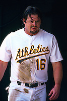OAKLAND, CA - Portrait of Jason Giambi of the Oakland Athletics in action during a game at the Oakland Coliseum in Oakland, California in 2000. Photo by Brad Mangin