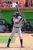 West Michigan Whitecaps shortstop Jose King (11) at bat during a game against the Wisconsin Timber Rattlers on May 22, 2021 at Neuroscience Group Field at Fox Cities Stadium in Grand Chute, Wisconsin.  (Brad Krause/Four Seam Images)