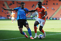 Blackpool's Bez Lubala under pressure from Swindon Town's Mathieu Baudry<br /> <br /> Photographer Kevin Barnes/CameraSport<br /> <br /> The EFL Sky Bet League One - Blackpool v Swindon Town - Saturday 19th September 2020 - Bloomfield Road - Blackpool<br /> <br /> World Copyright © 2020 CameraSport. All rights reserved. 43 Linden Ave. Countesthorpe. Leicester. England. LE8 5PG - Tel: +44 (0) 116 277 4147 - admin@camerasport.com - www.camerasport.com