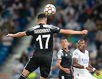 28th September 2021; Estadio Santiago Bernabeu, Madrid, Spain; Men's Champions League, Real Madrid CF versus FC Sheriff Tiraspol; Yakhshiboev heads on goal to score for 0-1 in the 25th minute