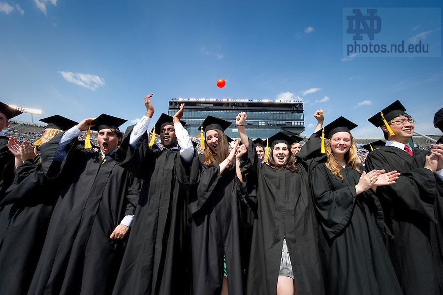 May 22, 2011; College of Science graduates celebrate at Commencement...Photo by Matt Cashore/University of Notre Dame