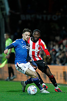 Matty Cash of Nottingham Forest and Josh Dasilva of Brentford during the Sky Bet Championship match between Brentford and Nottingham Forest at Griffin Park, London, England on 28 January 2020. Photo by Carlton Myrie.