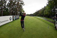19.05.2015. Wentworth, England. BMW PGA Golf Championship. Practice Day.  Soren Kjeldsen drives on the 12th Tee during the practice round of the 2015 BMW PGA Championship from The West Course Wentworth Golf Club