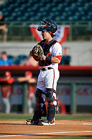 Florida Fire Frogs catcher Brett Cumberland (28) during a game against the Palm Beach Cardinals on May 1, 2018 at Osceola County Stadium in Kissimmee, Florida.  Florida defeated Palm Beach 3-2.  (Mike Janes/Four Seam Images)