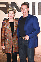 "LONDON, UK. October 17, 2019: Linda Hamilton and Arnold Schwarzenegger at the ""Terminator: Dark Fate"" photocall, London.<br /> Picture: Steve Vas/Featureflash"