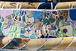Decorative Mosaic bench at Gaudi's Parc Guell in Barcelona, Spain.<br />