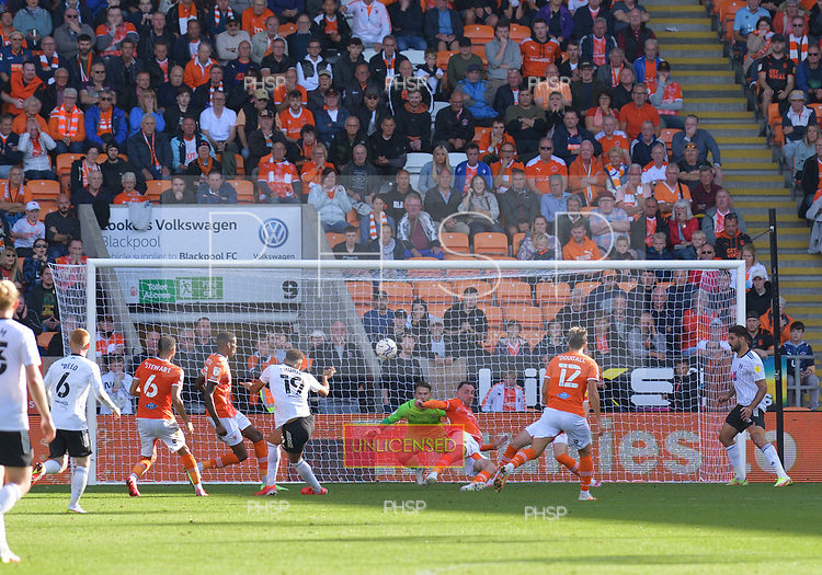 11/09/2021 Sky Bet Championship Blackpool v Fulham<br /> <br /> Richard Keogh blocks a Rodrigo Muniz shot