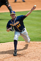 Montgomery starting pitcher James Houser (33) in action versus Carolina at Five County Stadium in Zebulon, NC, Wednesday, July 18, 2007.