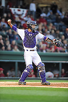 Catcher Paul Nitto (18) of the Furman Paladins in a game against the South Carolina Gamecocks on Wednesday, April 3, 2013, at Fluor Field at the West End in Greenville, South Carolina. (Tom Priddy/Four Seam Images)