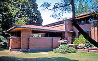F.L. Wright: Darwin D. Martin House, Buffalo.  3/4 elevation from N.E.  Photo '88.