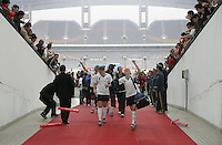 January 30, 2007: Cat Whitehill and Heather O'Reilly walk off the field after the match. The U.S. defeated China, 2-0, to win the Four Nations Tournament at Guangdong Olympic Stadium in Guangzhou, China.