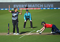 NZ's Sophie Devine celebrates Amelia Kerr's run-out of Mady Villiers during the 3rd international women's T20 cricket match between the New Zealand White Ferns and England at Sky Stadium in Wellington, New Zealand on Sunday, 7 March 2021. Photo: Dave Lintott / lintottphoto.co.nz
