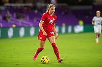 ORLANDO, FL - FEBRUARY 21: Janine Beckie #16 of the CANWNT dribbles the ball during a game between Argentina and Canada at Exploria Stadium on February 21, 2021 in Orlando, Florida.