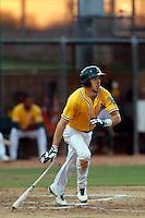 Justin Higley #17 of the AZL Athletics bats against the AZL Dodgers at Phoenix Municipal Stadium on July 10, 2013 in Phoenix, Arizona. AZL Athletics defeated the AZL Dodgers, 7-1. (Larry Goren/Four Seam Images)