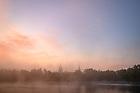 October 13, 2021; Sunrise and mist on St. Joseph Lake (Photo by Matt Cashore/University of Notre Dame)