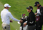 5 October 2008: Eventual 1-2 finishers, respectively, Dustin Johnson and Robert Allenby shakes hands at the start of the final round at the Turning Stone Golf Championship in Verona, New York.