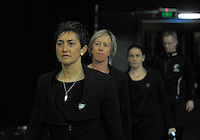 Silver Ferns assistant coach Yvette McCausland-Durie walks out for the Quad Series netball match between the New Zealand Silver Ferns and England Roses at Vector Arena, Auckland, New Zealand on Saturday, 27 August 2016. Photo: Dave Lintott / lintottphoto.co.nz